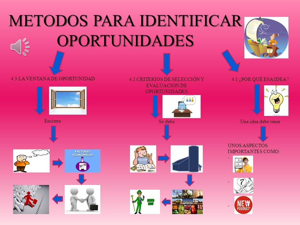 METODOS PARA IDENTIFICAR OPORTUNIDADES 4.1 ¿POR QUÉ ESA IDEA.