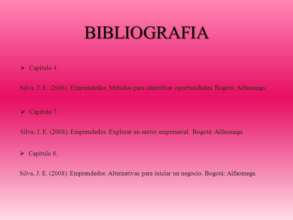 BIBLIOGRAFIA Capitulo 4.Silva, J. E. (2008). Emprendedor.