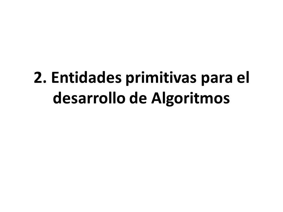 2. Entidades primitivas para el desarrollo de Algoritmos