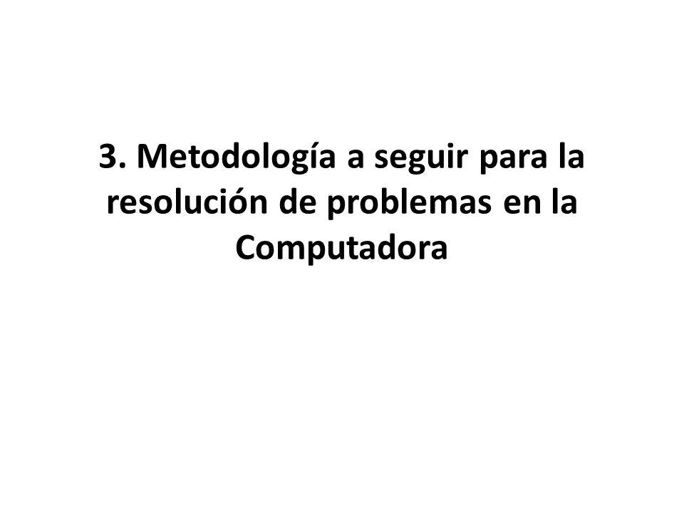 3. Metodología a seguir para la resolución de problemas en la Computadora