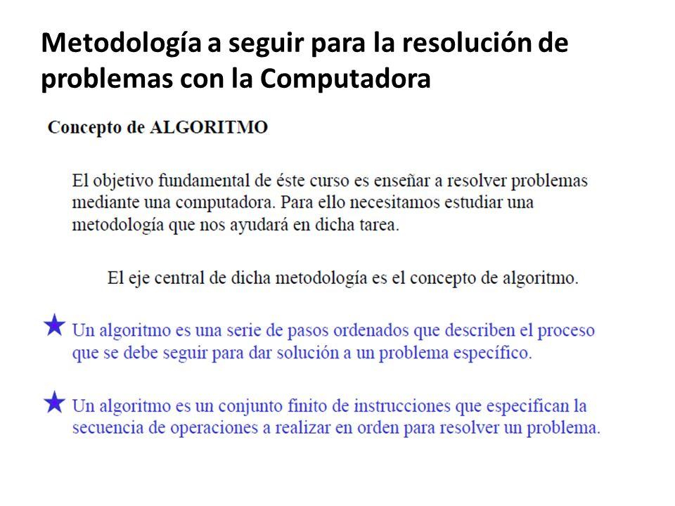 Metodología a seguir para la resolución de problemas con la Computadora