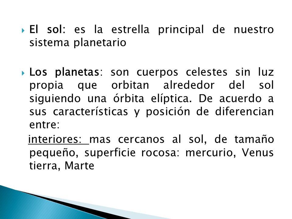 El sol: es la estrella principal de nuestro sistema planetario Los planetas: son cuerpos celestes sin luz propia que orbitan alrededor del sol siguien
