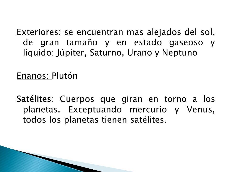 Exteriores: se encuentran mas alejados del sol, de gran tamaño y en estado gaseoso y líquido: Júpiter, Saturno, Urano y Neptuno Enanos: Plutón Satélit