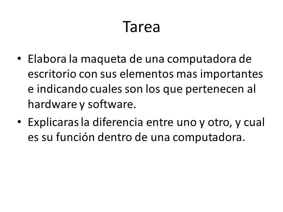 Tarea Elabora la maqueta de una computadora de escritorio con sus elementos mas importantes e indicando cuales son los que pertenecen al hardware y so