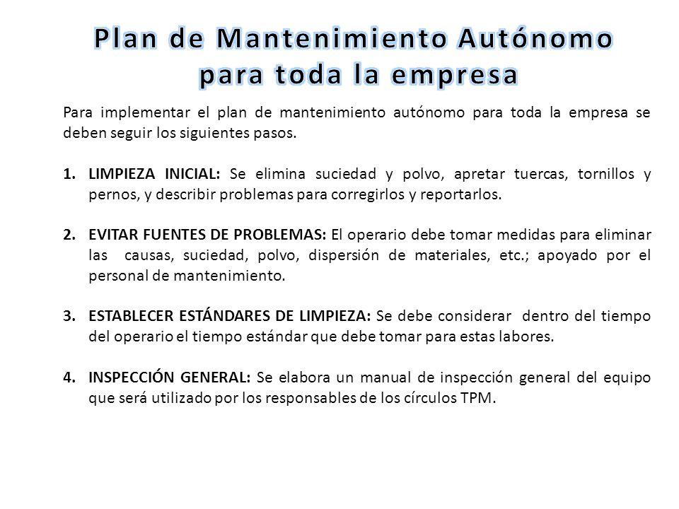 Para implementar el plan de mantenimiento autónomo para toda la empresa se deben seguir los siguientes pasos. 1.LIMPIEZA INICIAL: Se elimina suciedad