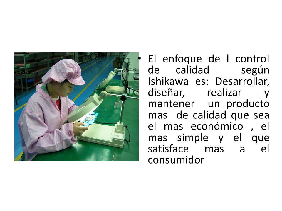 El enfoque de l control de calidad según Ishikawa es: Desarrollar, diseñar, realizar y mantener un producto mas de calidad que sea el mas económico, e