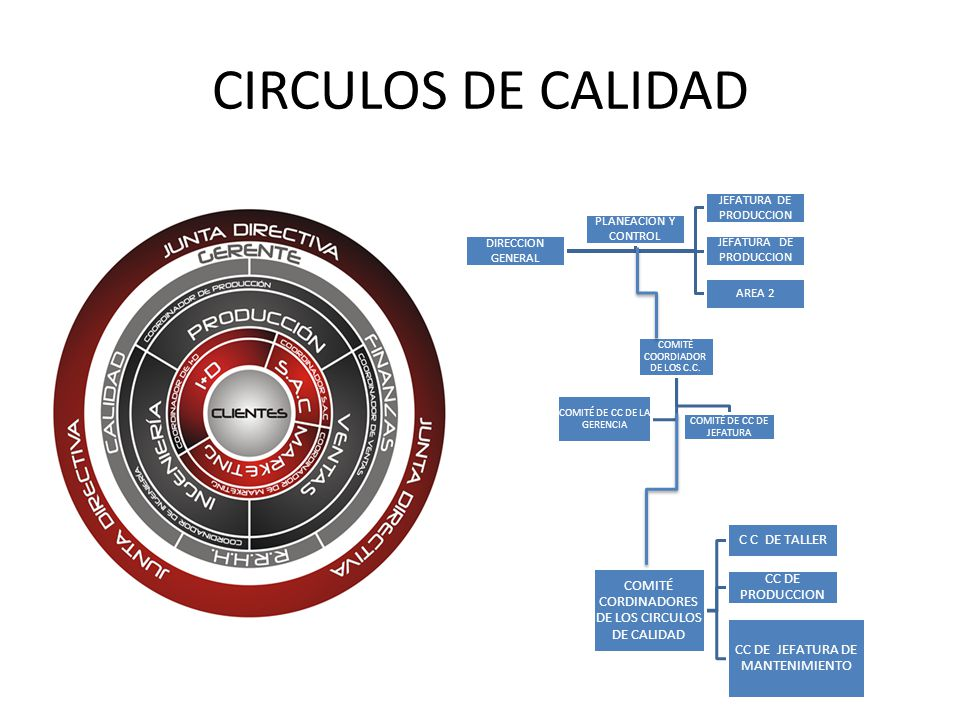 CIRCULOS DE CALIDAD DIRECCION GENERAL JEFATURA DE PRODUCCION AREA 2 PLANEACION Y CONTROL COMITÉ COORDIADOR DE LOS C.C. COMITÉ DE CC DE JEFATURA COMITÉ