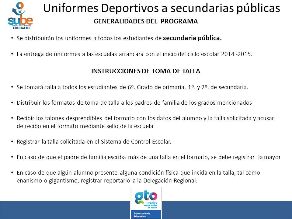 Uniformes Deportivos a secundarias públicas GENERALIDADES DEL PROGRAMA Se distribuirán los uniformes a todos los estudiantes de secundaria pública. La