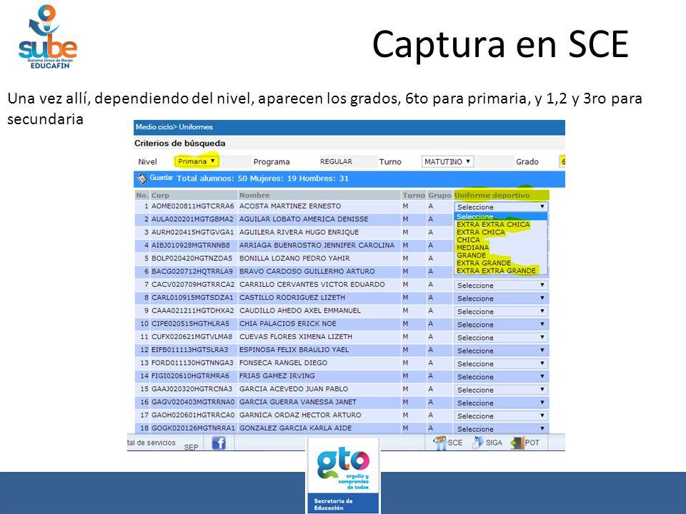 Captura en SCE Una vez allí, dependiendo del nivel, aparecen los grados, 6to para primaria, y 1,2 y 3ro para secundaria