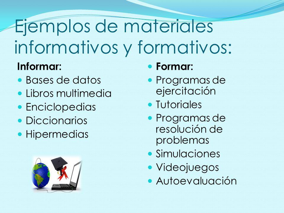 Ejemplos de materiales informativos y formativos: Informar: Bases de datos Libros multimedia Enciclopedias Diccionarios Hipermedias Formar: Programas