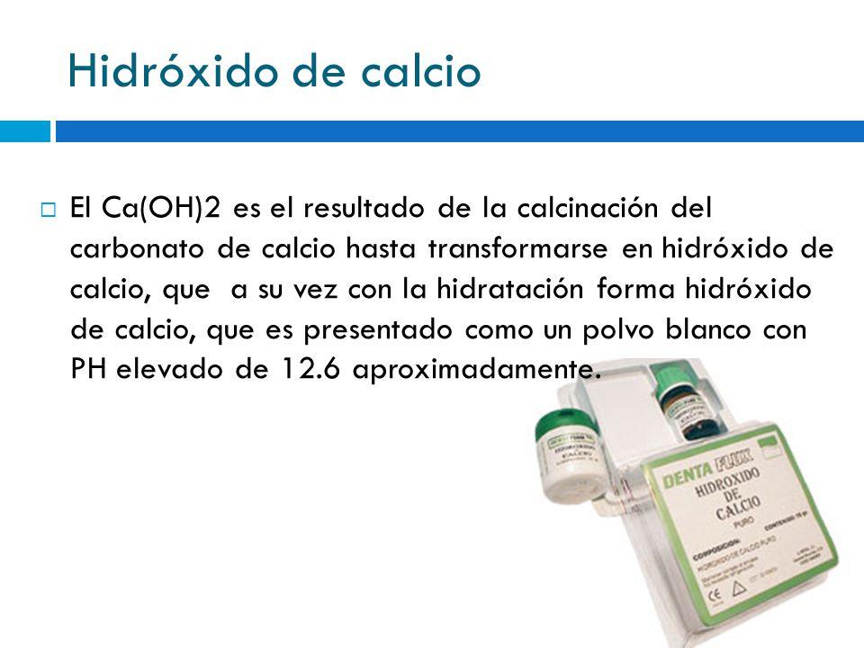 Hidróxido de calcio El Ca(OH)2 es el resultado de la calcinación del carbonato de calcio hasta transformarse en hidróxido de calcio, que a su vez con