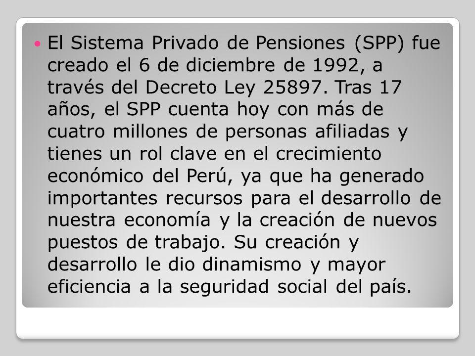 El Sistema Privado de Pensiones (SPP) fue creado el 6 de diciembre de 1992, a través del Decreto Ley 25897. Tras 17 años, el SPP cuenta hoy con más de