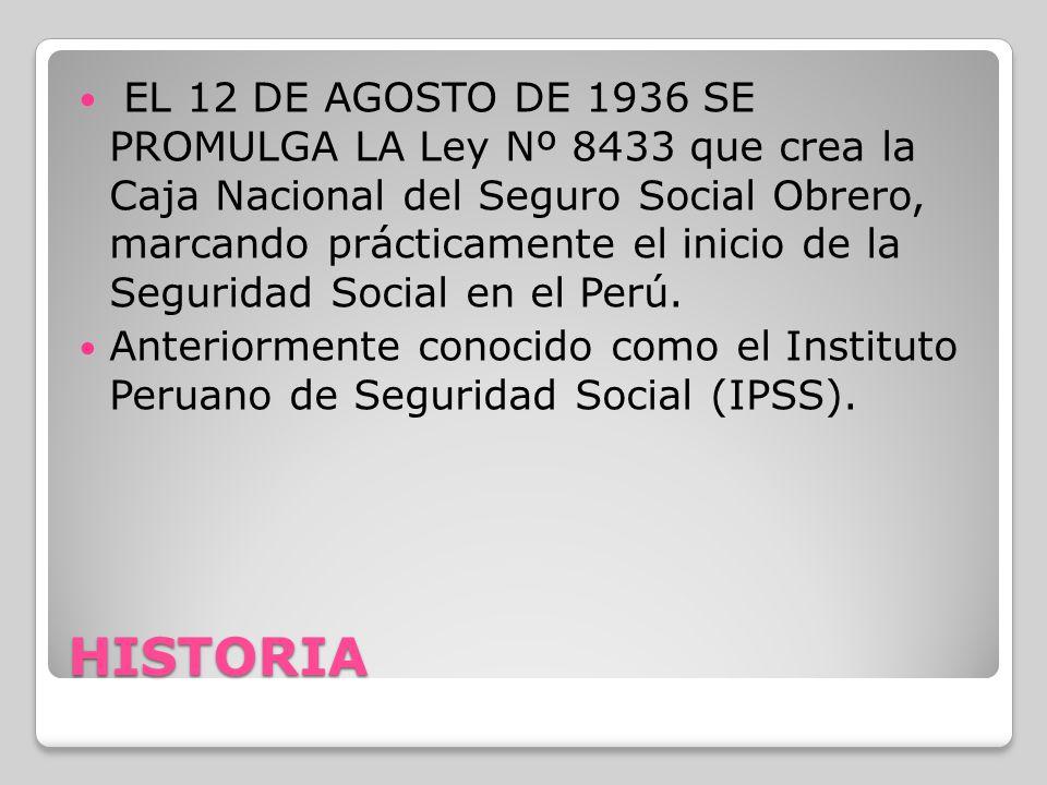 HISTORIA EL 12 DE AGOSTO DE 1936 SE PROMULGA LA Ley Nº 8433 que crea la Caja Nacional del Seguro Social Obrero, marcando prácticamente el inicio de la