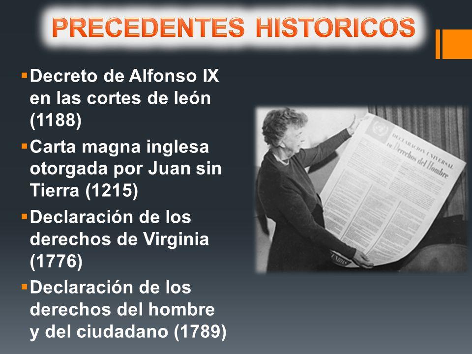 Decreto de Alfonso IX en las cortes de león (1188) Carta magna inglesa otorgada por Juan sin Tierra (1215) Declaración de los derechos de Virginia (1776) Declaración de los derechos del hombre y del ciudadano (1789)