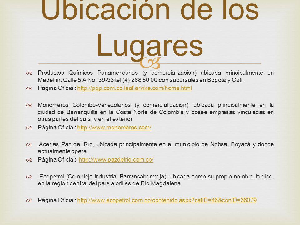 Productos Químicos Panamericanos (y comercialización) ubicada principalmente en Medellín: Calle 5 A No. 39-93 tel (4) 268 50 00 con sucursales en Bogo