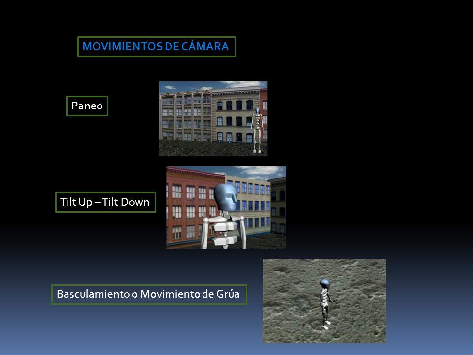 MOVIMIENTOS DE CÁMARA Paneo Tilt Up – Tilt Down Basculamiento o Movimiento de Grúa