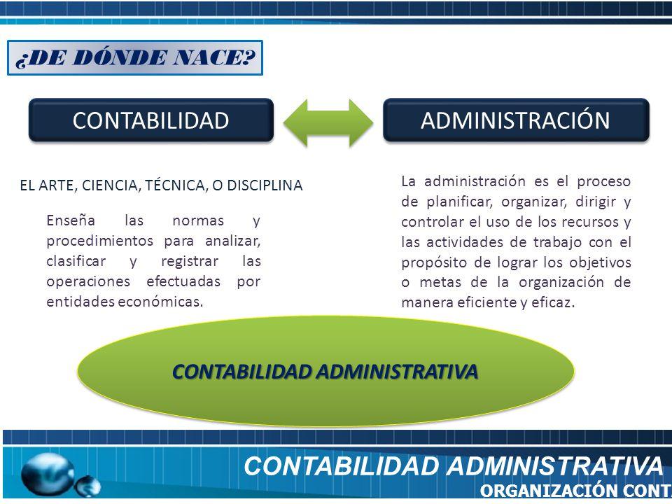CONTABILIDAD ADMINISTRATIVA ORGANIZACIÓN CONTABLE