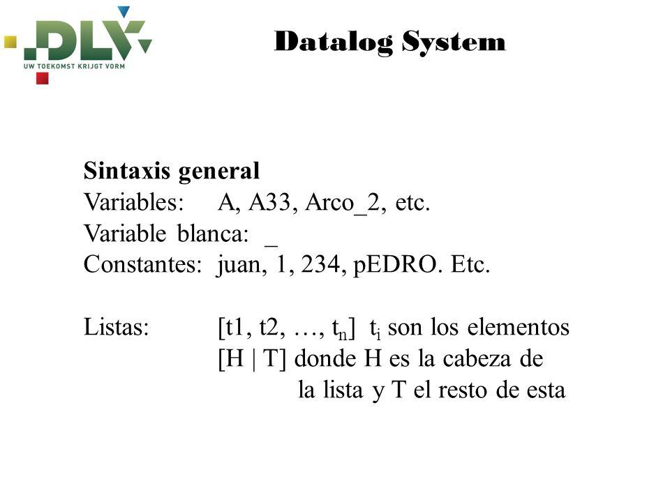 Datalog System Sintaxis general P :- Q.Regla P.Hechos o datos de entrada :-Q.Restricciones fuertes :~Q.Restricciones débiles
