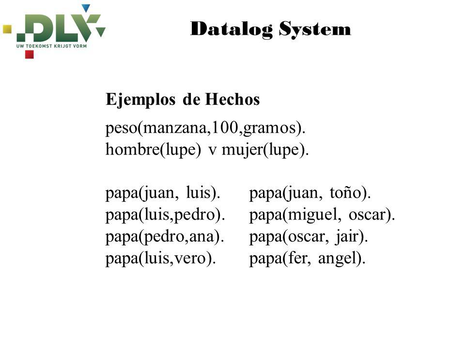 Datalog System peso(manzana,100,gramos). hombre(lupe) v mujer(lupe). papa(juan, luis). papa(juan, toño). papa(luis,pedro). papa(miguel, oscar). papa(p
