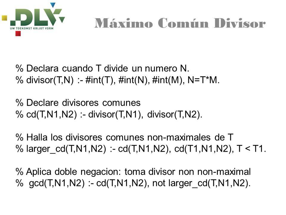 Máximo Común Divisor % Declara cuando T divide un numero N. % divisor(T,N) :- #int(T), #int(N), #int(M), N=T*M. % Declare divisores comunes % cd(T,N1,