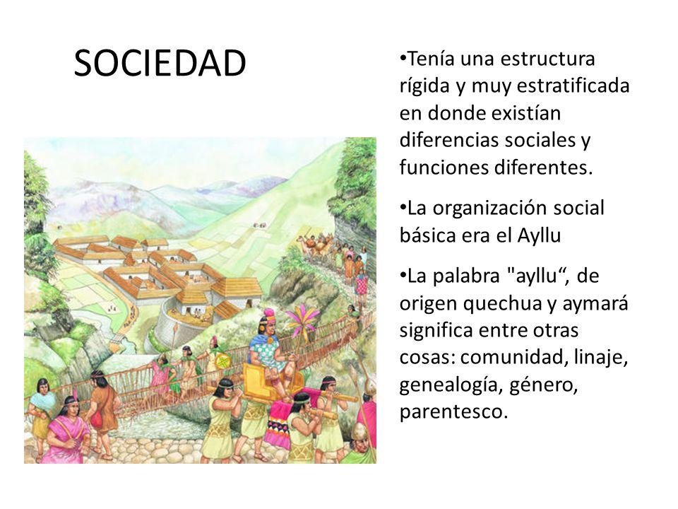 SOCIEDAD Tenía una estructura rígida y muy estratificada en donde existían diferencias sociales y funciones diferentes. La organización social básica