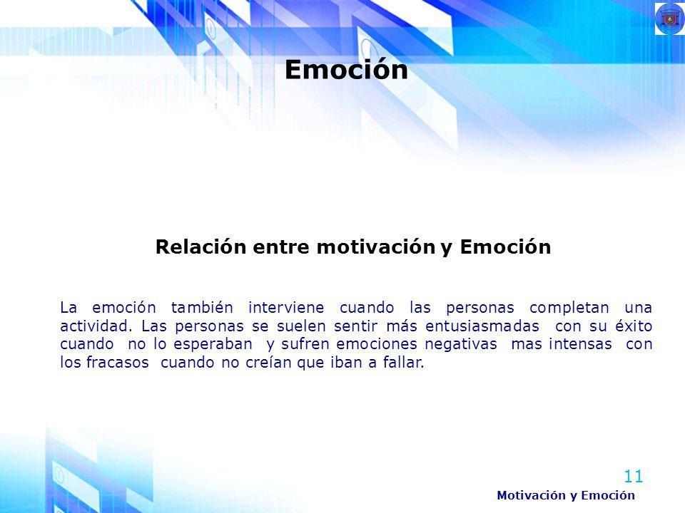 11 Emoción Motivación y Emoción Relación entre motivación y Emoción La emoción también interviene cuando las personas completan una actividad. Las per