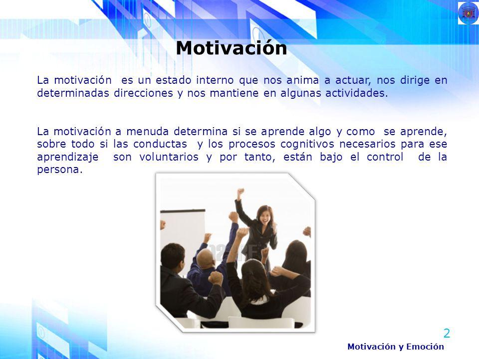 2 La motivación es un estado interno que nos anima a actuar, nos dirige en determinadas direcciones y nos mantiene en algunas actividades. La motivaci