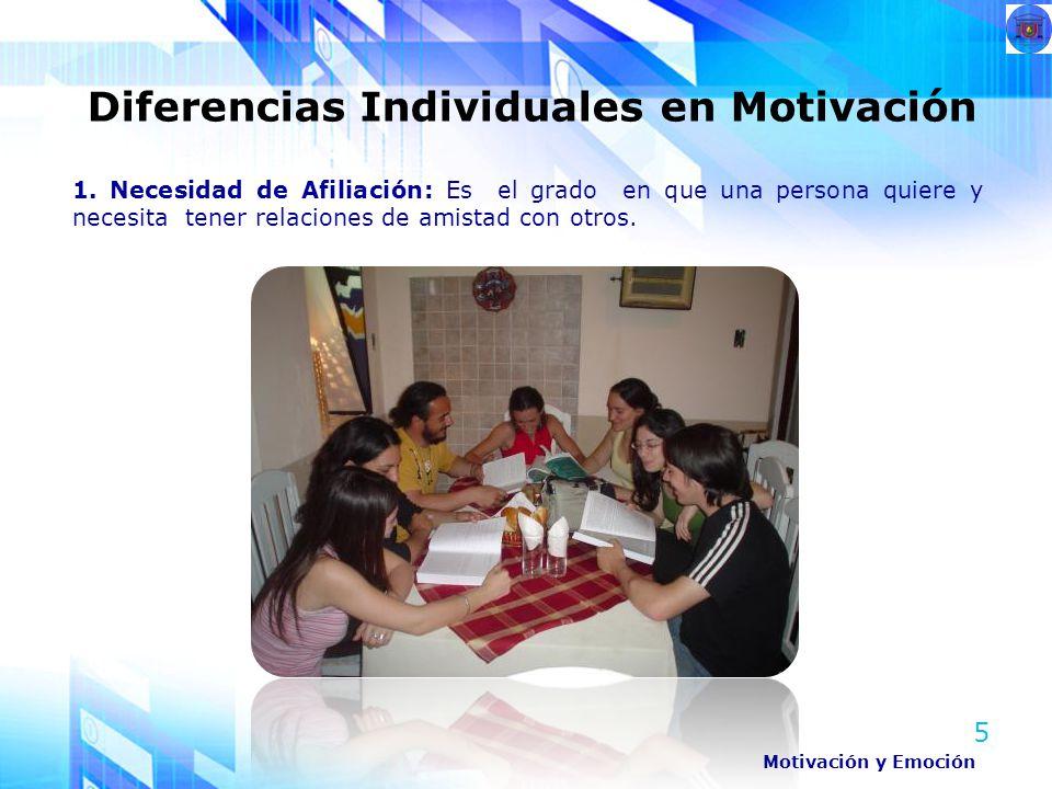 5 1. Necesidad de Afiliación: Es el grado en que una persona quiere y necesita tener relaciones de amistad con otros. Diferencias Individuales en Moti