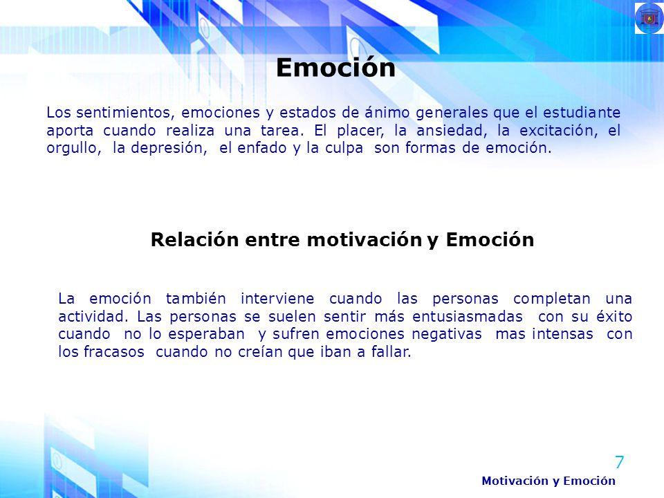 7 Los sentimientos, emociones y estados de ánimo generales que el estudiante aporta cuando realiza una tarea. El placer, la ansiedad, la excitación, e