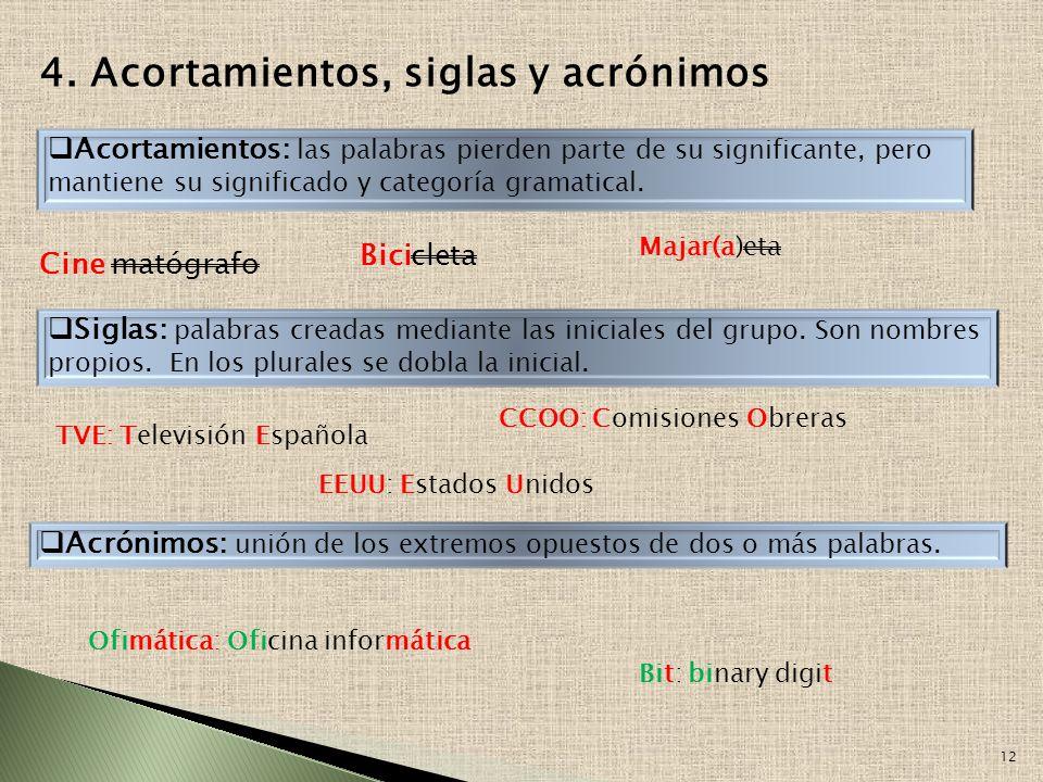 11 3. PARASÍNTESIS Consiste en la combinación de los procedimientos anteriores: composición y derivación. A)Prefijo + lexema +sufijo unidos simultánea