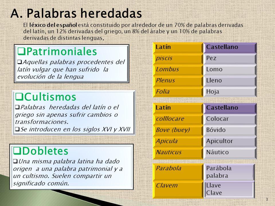 Palabras heredadas Conjunto de palabras que forman el idioma Léxico español PréstamosProcedimientos de formación Patrimoniales Cultismos Dobletes Hist