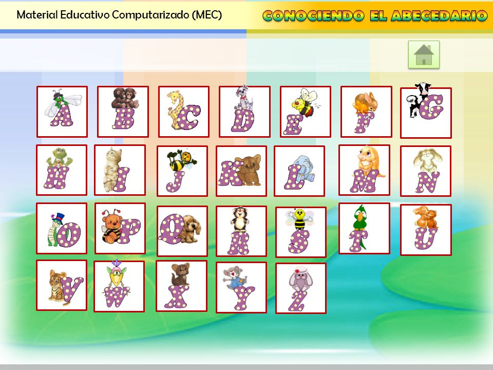 Material Educativo Computarizado (MEC) Visualizar el abecedario a través de galería de figuras de letras Visualizar el abecedario a través de galería