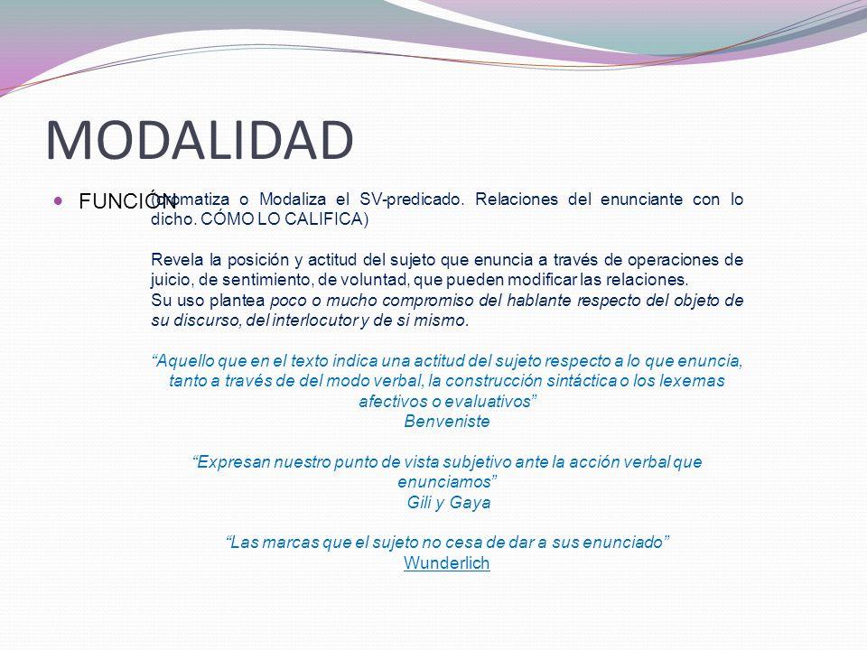 MODALIDAD FUNCIÓN (cromatiza o Modaliza el SV-predicado.