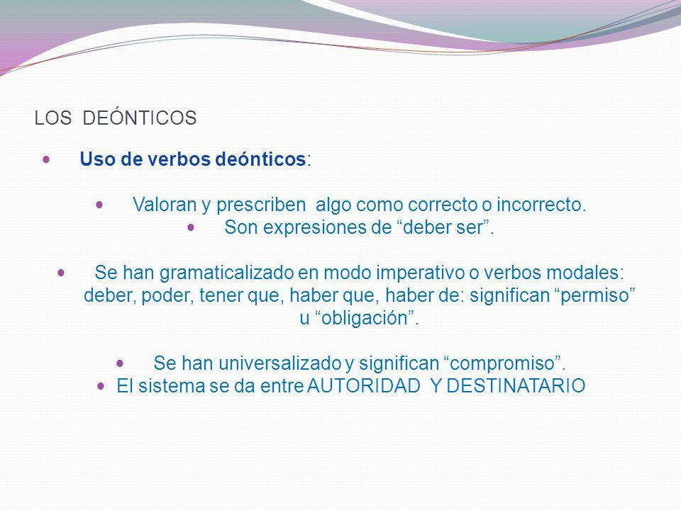 LOS DEÓNTICOS Uso de verbos deónticos: Valoran y prescriben algo como correcto o incorrecto.