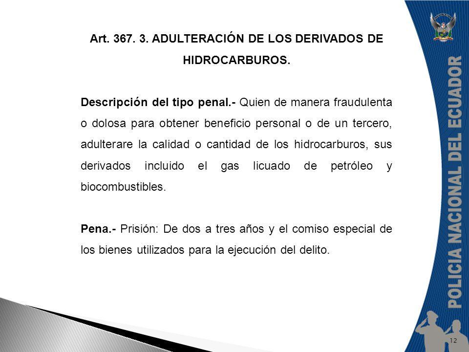 Art. 367. 3. ADULTERACIÓN DE LOS DERIVADOS DE HIDROCARBUROS. Descripción del tipo penal.- Quien de manera fraudulenta o dolosa para obtener beneficio