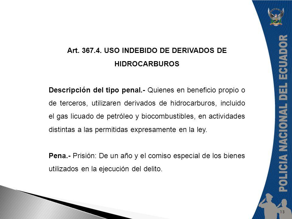 Art. 367.4. USO INDEBIDO DE DERIVADOS DE HIDROCARBUROS Descripción del tipo penal.- Quienes en beneficio propio o de terceros, utilizaren derivados de