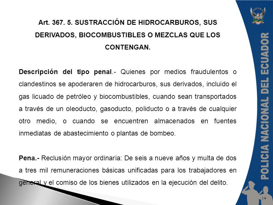 Art. 367. 5. SUSTRACCIÓN DE HIDROCARBUROS, SUS DERIVADOS, BIOCOMBUSTIBLES O MEZCLAS QUE LOS CONTENGAN. Descripción del tipo penal.- Quienes por medios