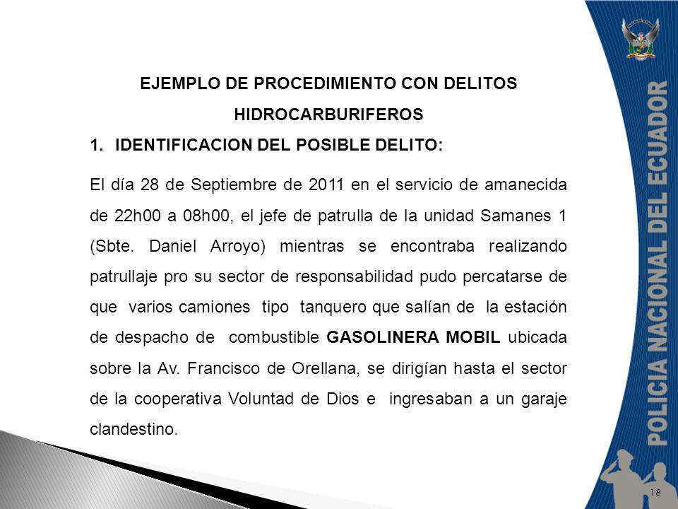 EJEMPLO DE PROCEDIMIENTO CON DELITOS HIDROCARBURIFEROS 1.IDENTIFICACION DEL POSIBLE DELITO: El día 28 de Septiembre de 2011 en el servicio de amanecid