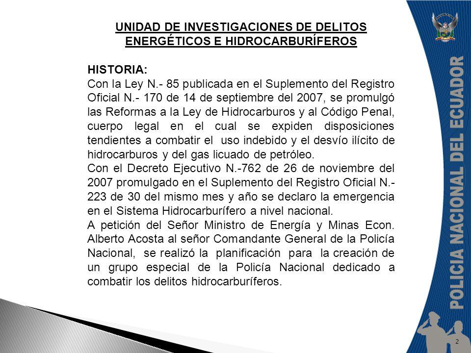 UNIDAD DE INVESTIGACIONES DE DELITOS ENERGÉTICOS E HIDROCARBURÍFEROS HISTORIA: Con la Ley N.- 85 publicada en el Suplemento del Registro Oficial N.- 1