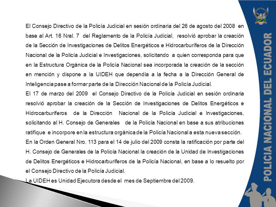 El Consejo Directivo de la Policía Judicial en sesión ordinaria del 26 de agosto del 2008 en base al Art. 16 Nral. 7 del Reglamento de la Policía Judi