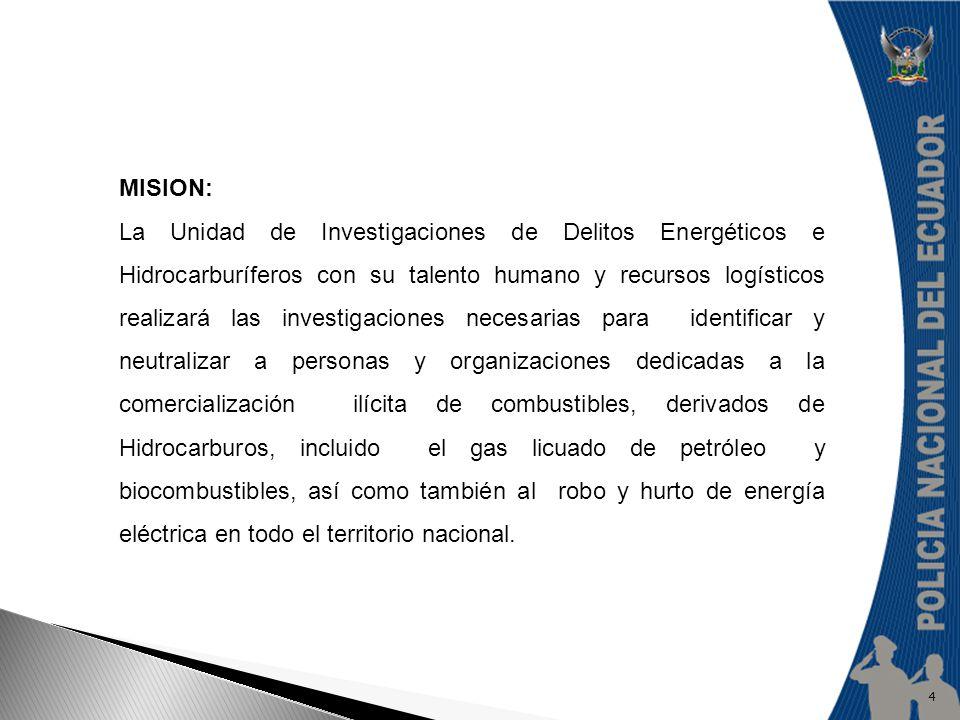 VISION: Que la Unidad de Investigaciones de Delitos Energéticos e Hidrocarburíferos de la Policía Nacional, se convierta en la Institución que brinde el mayor apoyo operativo y de investigación a nivel nacional a las Instituciones del Estado, para la defensa de los recursos energéticos e hidrocarburíferos del país.