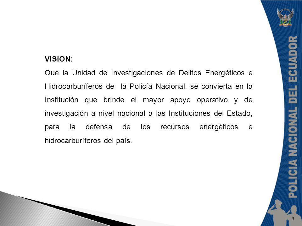 VISION: Que la Unidad de Investigaciones de Delitos Energéticos e Hidrocarburíferos de la Policía Nacional, se convierta en la Institución que brinde