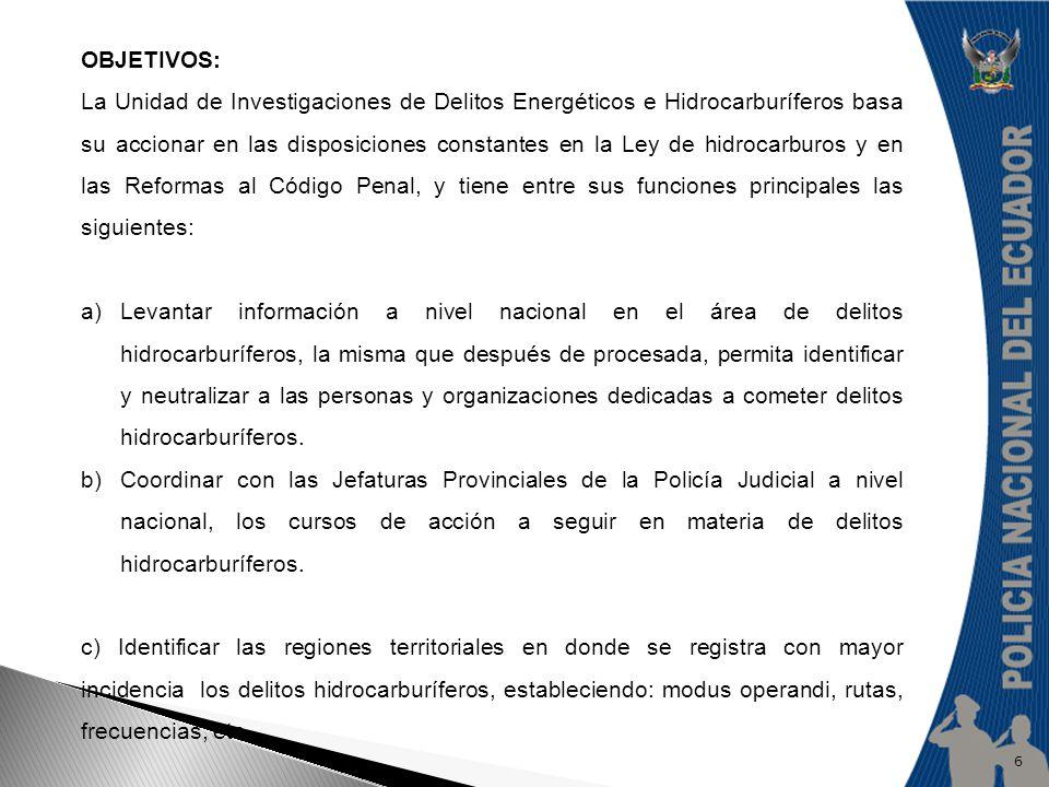 OBJETIVOS: La Unidad de Investigaciones de Delitos Energéticos e Hidrocarburíferos basa su accionar en las disposiciones constantes en la Ley de hidro