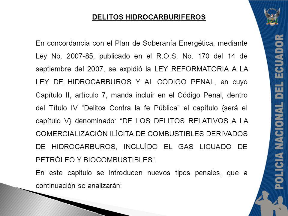 DELITOS HIDROCARBURIFEROS En concordancia con el Plan de Soberanía Energética, mediante Ley No. 2007-85, publicado en el R.O.S. No. 170 del 14 de sept
