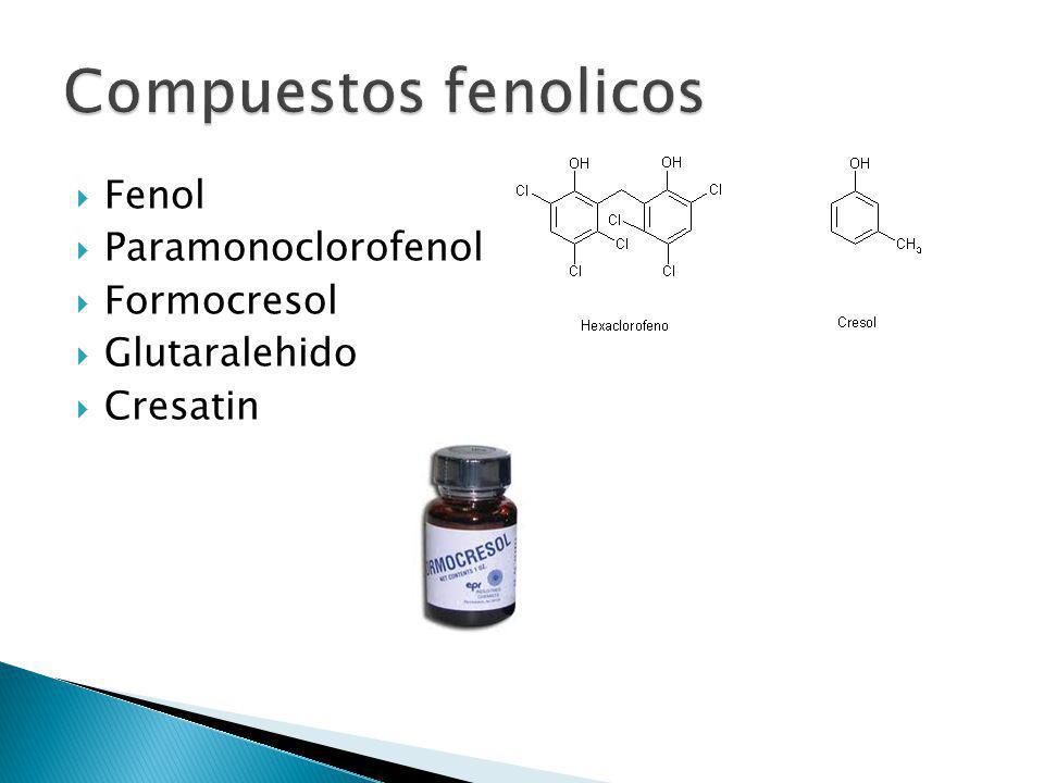 Fenol Paramonoclorofenol Formocresol Glutaralehido Cresatin