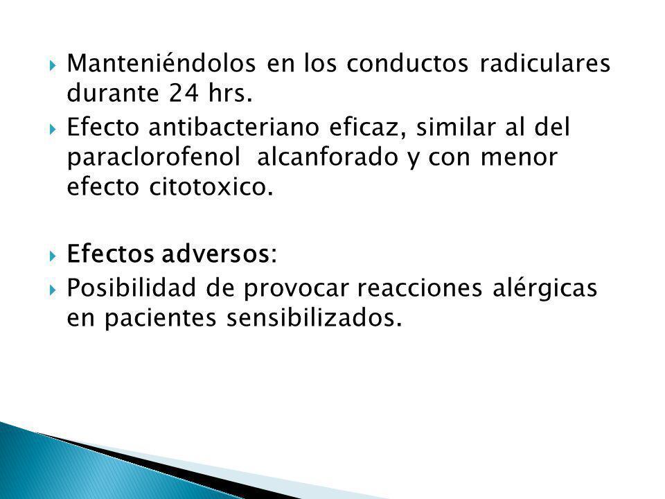 Manteniéndolos en los conductos radiculares durante 24 hrs. Efecto antibacteriano eficaz, similar al del paraclorofenol alcanforado y con menor efecto