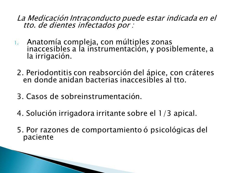 La Medicación Intraconducto puede estar indicada en el tto. de dientes infectados por : 1. Anatomía compleja, con múltiples zonas inaccesibles a la in