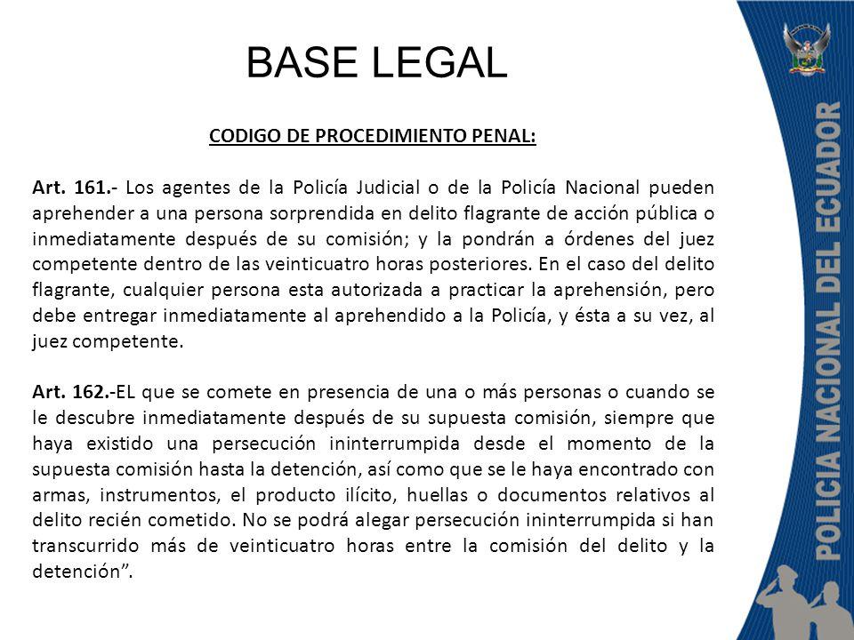 CODIGO DE PROCEDIMIENTO PENAL: Art. 161.- Los agentes de la Policía Judicial o de la Policía Nacional pueden aprehender a una persona sorprendida en d