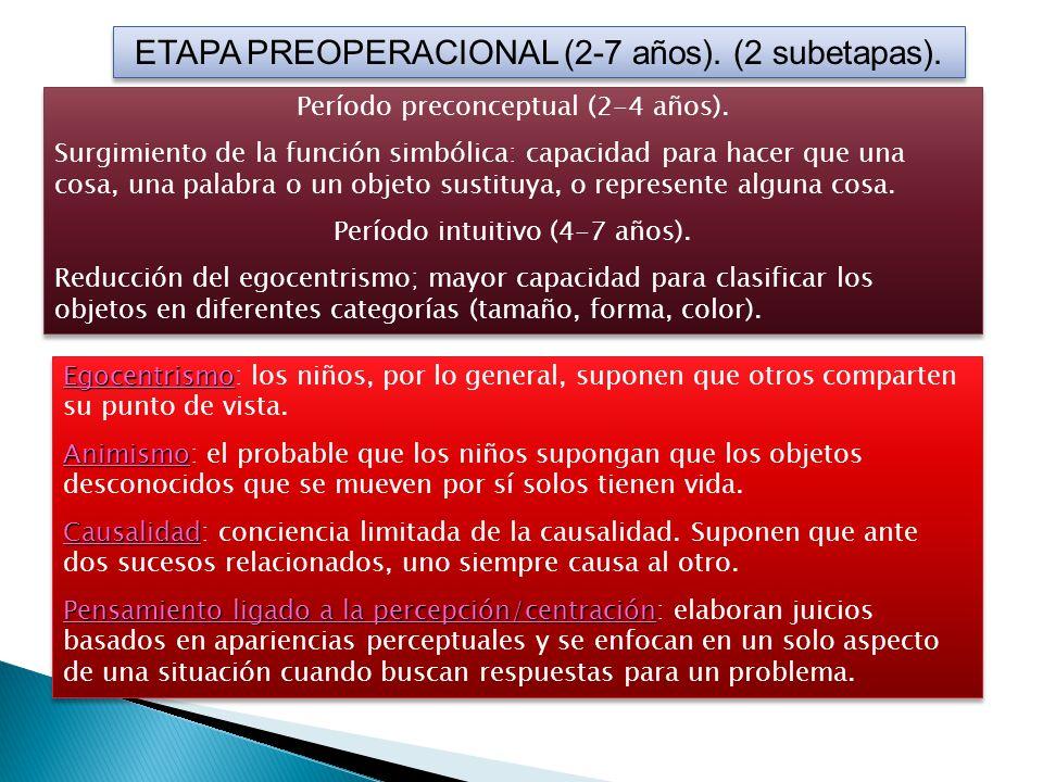 ETAPA PREOPERACIONAL (2-7 años). (2 subetapas). Período preconceptual (2-4 años). Surgimiento de la función simbólica: capacidad para hacer que una co
