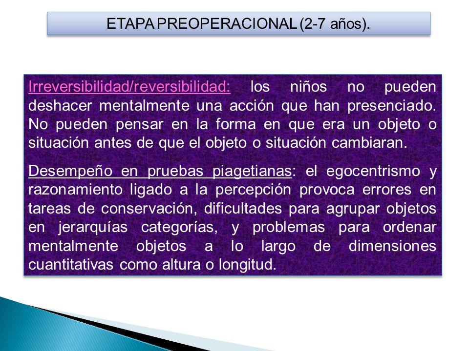 ETAPA PREOPERACIONAL (2-7 años). Irreversibilidad/reversibilidad: los niños no pueden deshacer mentalmente una acción que han presenciado. No pueden p